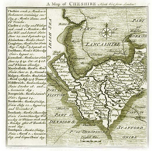 Old Map of Cheshire