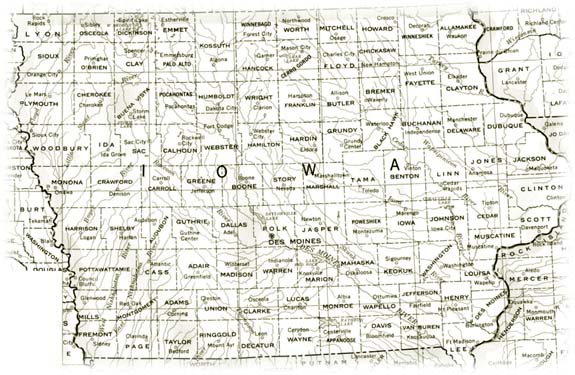 Old Map of Iowa