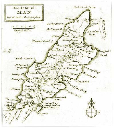 Old Map of the Isle of Man