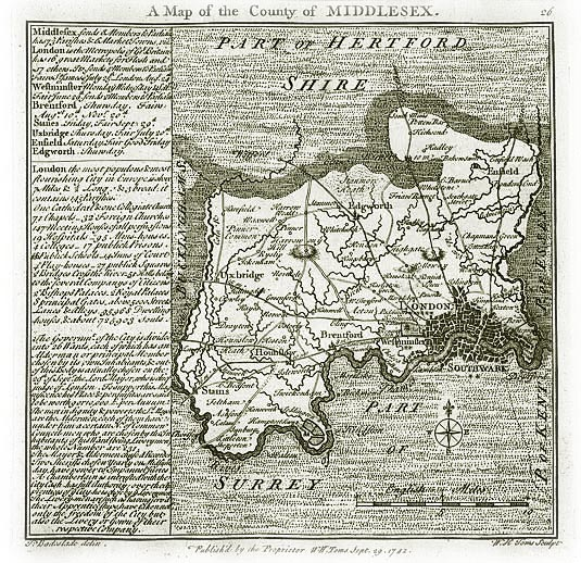 Old Map of Middlesex