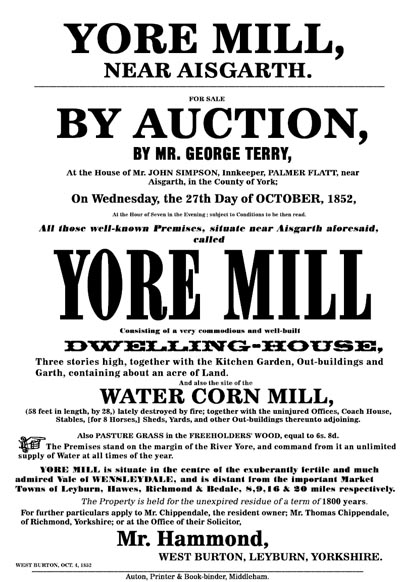 Auction Poster for the Sale of the Yore Mill in 1852