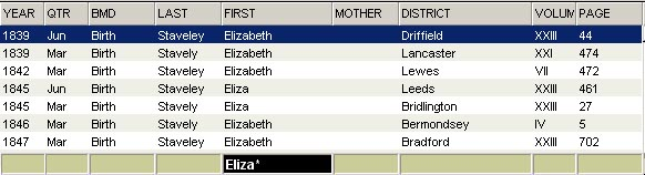 Screen Shot - Search for Eliza or Elizabeth as a first name