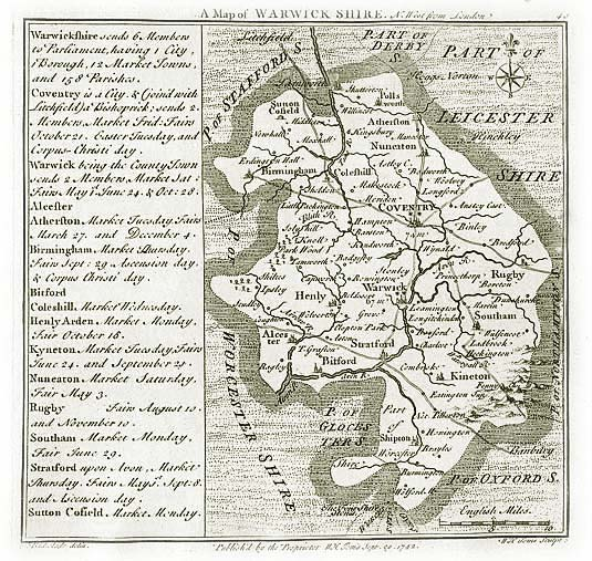 Old Map of Warwickshire