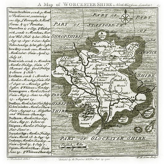 Old Map of Worcestershire